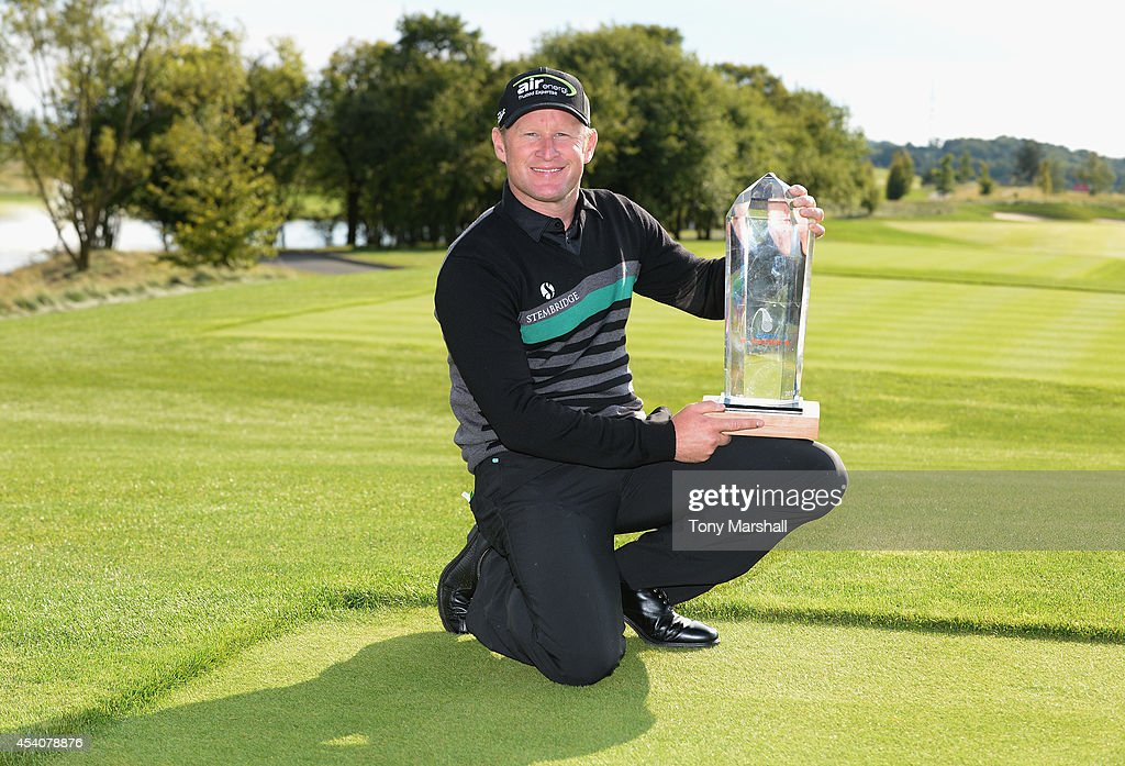 <a gi-track='captionPersonalityLinkClicked' href=/galleries/search?phrase=Jamie+Donaldson&family=editorial&specificpeople=241203 ng-click='$event.stopPropagation()'>Jamie Donaldson</a> of Wales poses with the trophy after winning the D+D Real Czech Masters during day four of D+D REAL Czech Masters at Albatross Golf Resort on August 24, 2014 in Prague, Czech Republic.