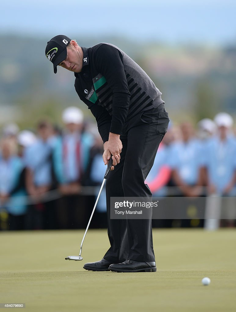<a gi-track='captionPersonalityLinkClicked' href=/galleries/search?phrase=Jamie+Donaldson&family=editorial&specificpeople=241203 ng-click='$event.stopPropagation()'>Jamie Donaldson</a> of Wales putts on the 18th green during day four of D+D REAL Czech Masters at Albatross Golf Resort on August 24, 2014 in Prague, Czech Republic.