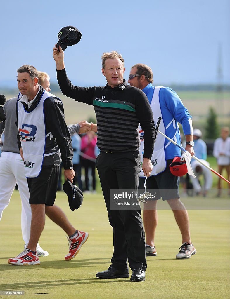 <a gi-track='captionPersonalityLinkClicked' href=/galleries/search?phrase=Jamie+Donaldson&family=editorial&specificpeople=241203 ng-click='$event.stopPropagation()'>Jamie Donaldson</a> of Wales raises his cap to acknowledge the crowd after winning the D+D Real Czech Masters during day four of D+D REAL Czech Masters at Albatross Golf Resort on August 24, 2014 in Prague, Czech Republic.