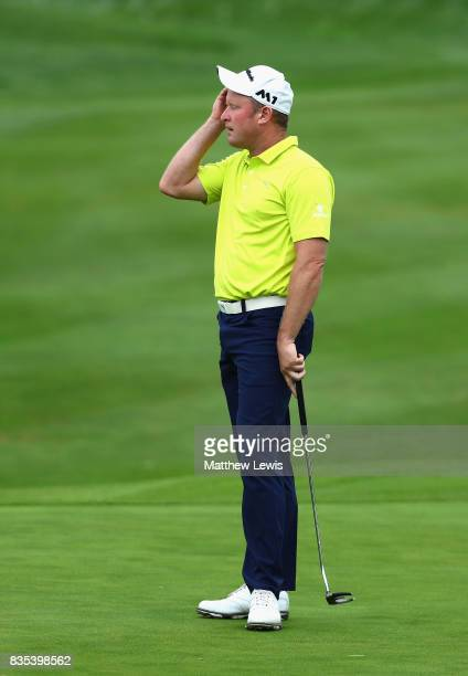 Jamie Donaldson of Wales reacts to a putt on the1st during day three of the Saltire Energy Paul Lawrie Matchplay at Golf Resort Bad Griesbach on...