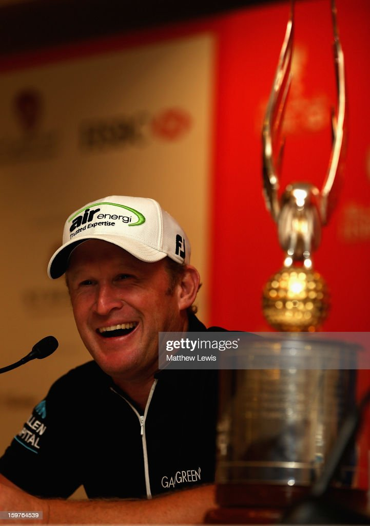 Jamie Donaldson of Wales talks to the media in a press conference after winning the Abu Dhabi HSBC Golf Championship at Abu Dhabi Golf Club on January 20, 2013 in Abu Dhabi, United Arab Emirates.