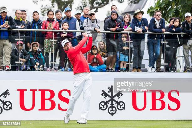 Jamie Donaldson of Wales tees off during round three of the UBS Hong Kong Open at The Hong Kong Golf Club on November 25 2017 in Hong Kong Hong Kong