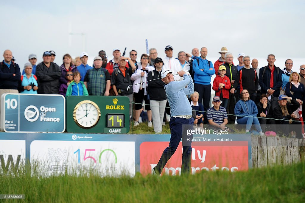 <a gi-track='captionPersonalityLinkClicked' href=/galleries/search?phrase=Jamie+Donaldson&family=editorial&specificpeople=241203 ng-click='$event.stopPropagation()'>Jamie Donaldson</a> of Wales tees off on the 10th hole during the first round of the 100th Open de France at Le Golf National on June 30, 2016 in Paris, France.