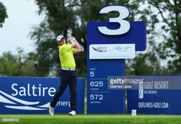 Jamie Donaldson of Wales tees off on the 3rd during day three of the Saltire Energy Paul Lawrie Matchplay at Golf Resort Bad Griesbach on August 19...