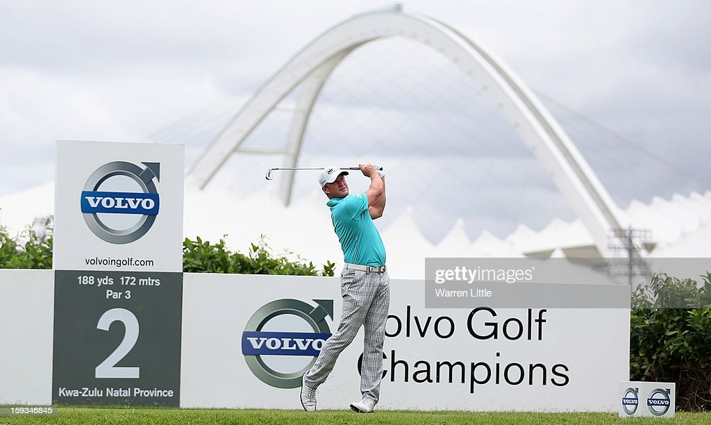 Jamie Donaldson of Wales tees off on the second hole during the third round of the Volvo Golf Champions at Durban Country Club on January 12, 2013 in Durban, South Africa.