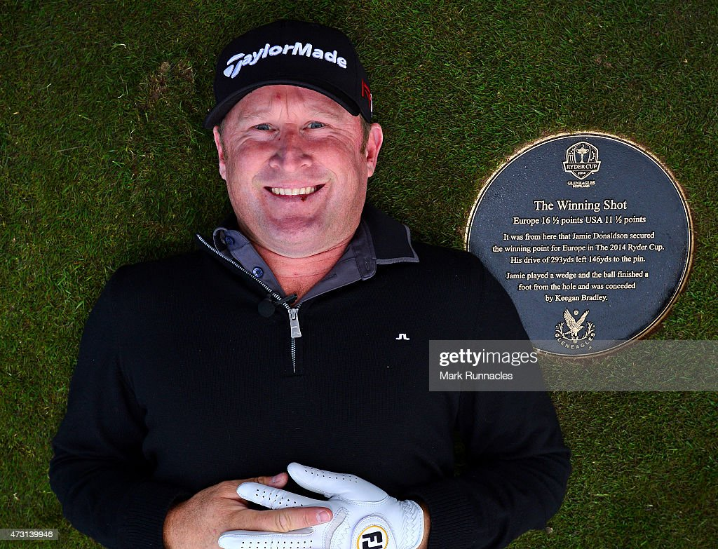 Jamie Donaldson of Wales unveils the Ryder Cup Moment of Victory Plaque on the 15th fairway on the The Gleneagles PGA Centenary Course on May 13, 2015 in Auchterarder, Scotland.
