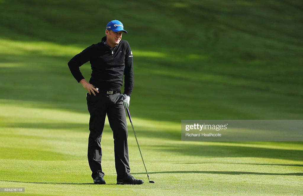 <a gi-track='captionPersonalityLinkClicked' href=/galleries/search?phrase=Jamie+Donaldson&family=editorial&specificpeople=241203 ng-click='$event.stopPropagation()'>Jamie Donaldson</a> of Wales waits on the 4th hole during day one of the BMW PGA Championship at Wentworth on May 26, 2016 in Virginia Water, England.