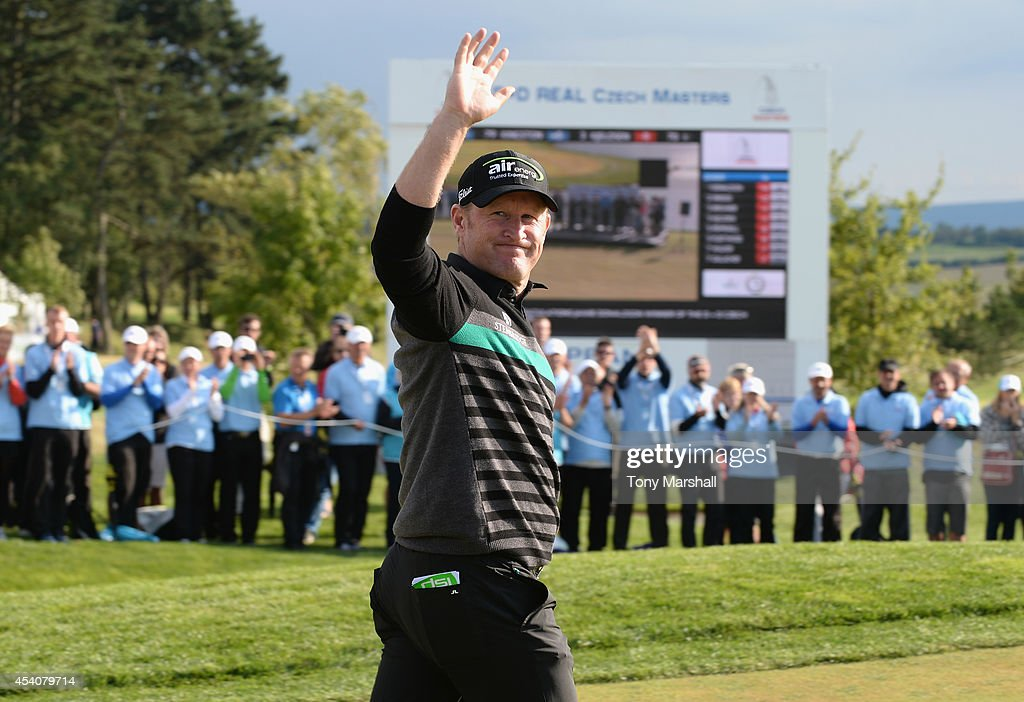 <a gi-track='captionPersonalityLinkClicked' href=/galleries/search?phrase=Jamie+Donaldson&family=editorial&specificpeople=241203 ng-click='$event.stopPropagation()'>Jamie Donaldson</a> of Wales walks on to the 18th green for the presentation ceremony after winning the D+D Real Czech Masters during day four of D+D REAL Czech Masters at Albatross Golf Resort on August 24, 2014 in Prague, Czech Republic.