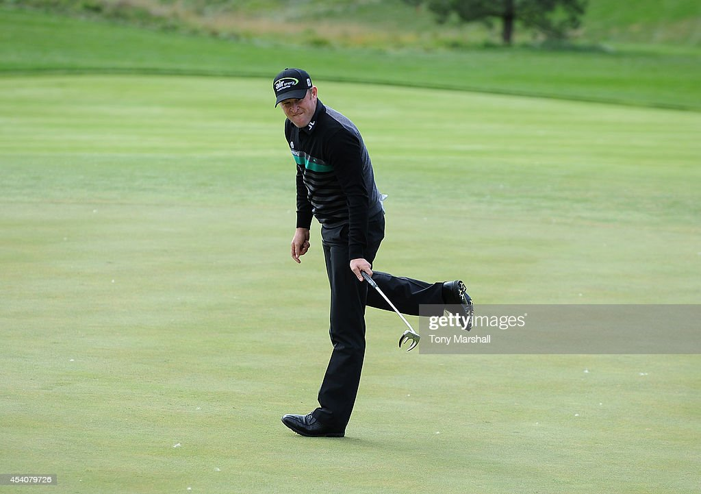 <a gi-track='captionPersonalityLinkClicked' href=/galleries/search?phrase=Jamie+Donaldson&family=editorial&specificpeople=241203 ng-click='$event.stopPropagation()'>Jamie Donaldson</a> of Wales watches his putt narrowly miss the hole on the 14th green during day four of D+D REAL Czech Masters at Albatross Golf Resort on August 24, 2014 in Prague, Czech Republic.