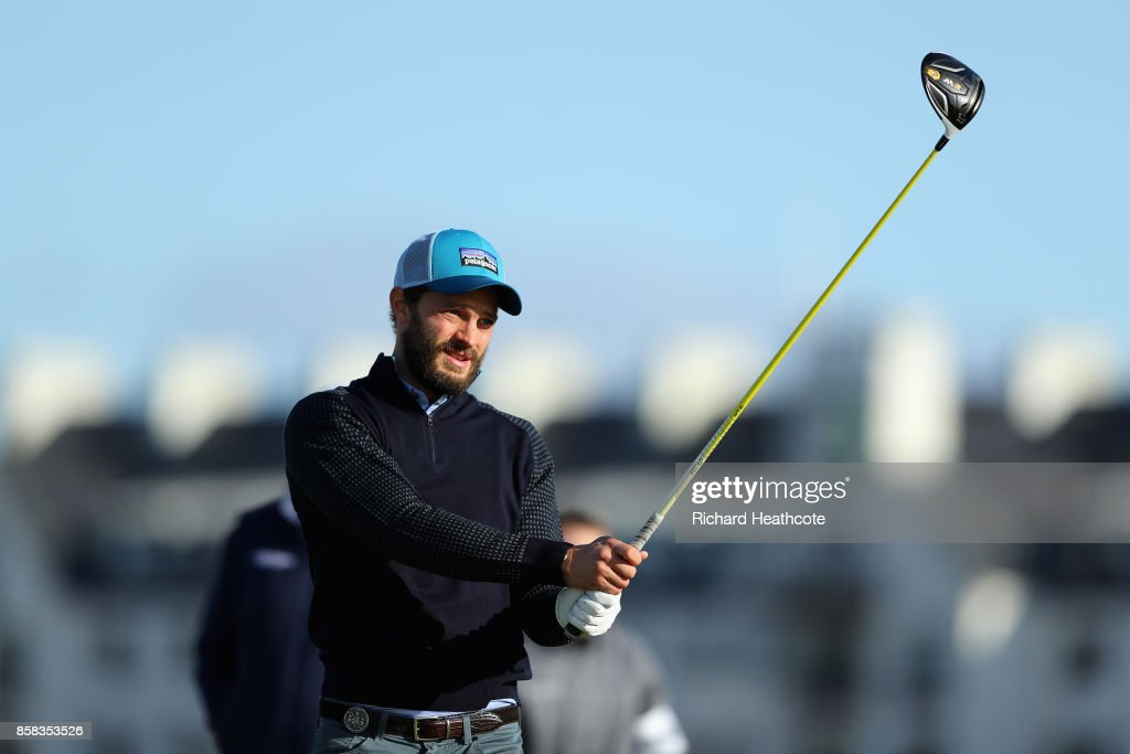 Jamie Dornan, Actor in action during day two of the 2017 Alfred Dunhill Championship at Carnoustie on October 6, 2017 in Carnoustie, Scotland.