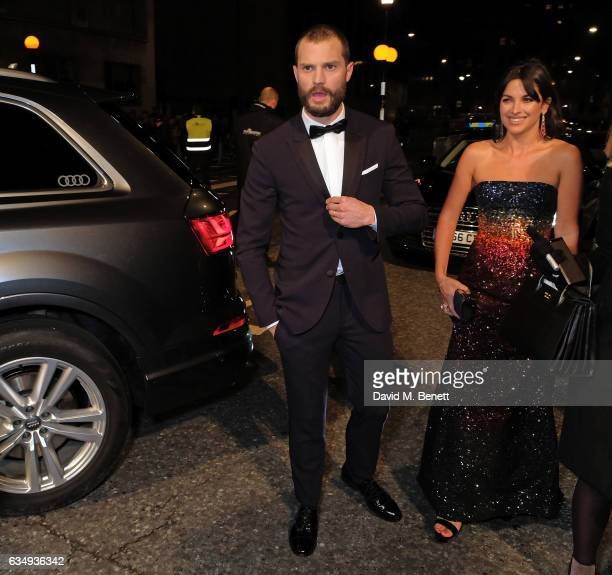 Jamie Dornan and Amelia Warner arrive in an Audi at the EE BAFTA Film Awards at the at Royal Albert Hall on February 12 2017 in London England