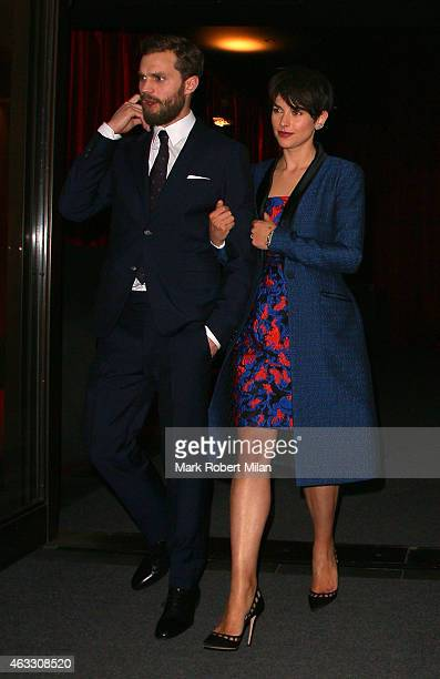 Jamie Dornan and Amelia Warner leaving the 'Fifty Shades of Grey' after party at Aqua on February 12 2015 in London England