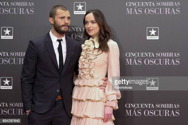 Jamie Dornan and Dakota Johnson attend the 'Fifty Shades Darker' premiere at Kinepolis Cinema on February 8 2017 in Madrid Spain