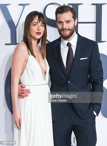 Jamie Dornan and Dakota Johnson attend the UK Premiere of 'Fifty Shades Of Grey' at Odeon Leicester Square on February 12 2015 in London England