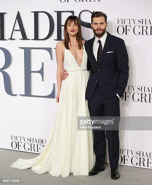 Jamie Dornan and Dakota Johnson attends the UK Premiere of 'Fifty Shades Of Grey' at Odeon Leicester Square on February 12 2015 in London England