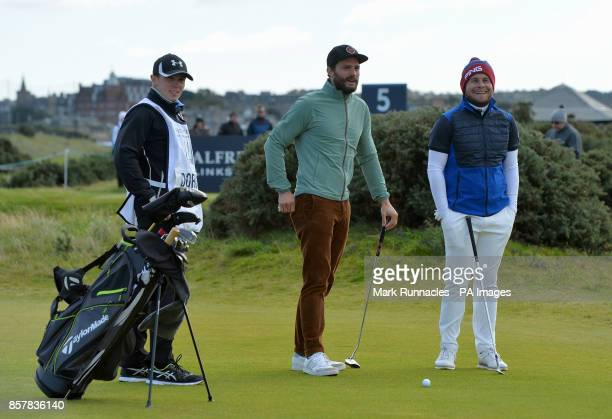 Jamie Dornan and England's Tyrell Hatton during day one of the Alfred Dunhill Links Championship at St Andrews