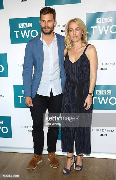 Jamie Dornan and Gilian Anderson pose for a photo as the cast of BBC Two drama 'The Fall' gather for the launch of series three at BFI Southbank on...