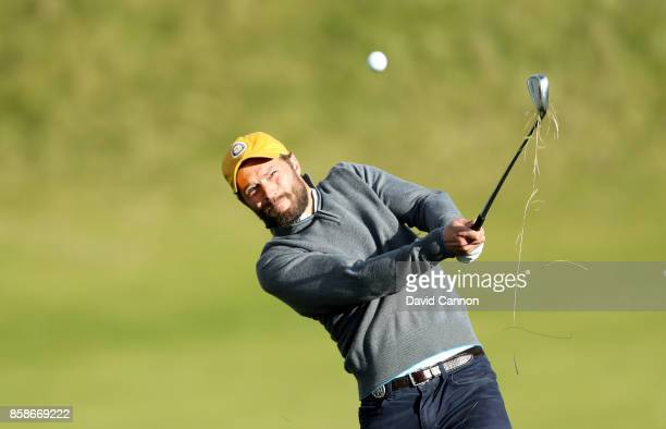 Jamie Dornan of Northern Ireland the television and film actor plays his second shot on the ninth hole during the third round of the 2017 Alfred...