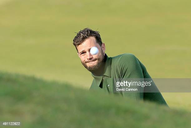 Jamie Dornan the film actor plays his third shot on the 12th hole during the third round of the 2015 Alfred Dunhill Links Championship at Kingsbarns...