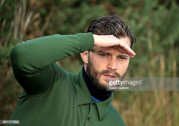 Jamie Dornan the film actor waiting on the 12th tee during the third round of the 2015 Alfred Dunhill Links Championship at Kingsbarns on October 3...