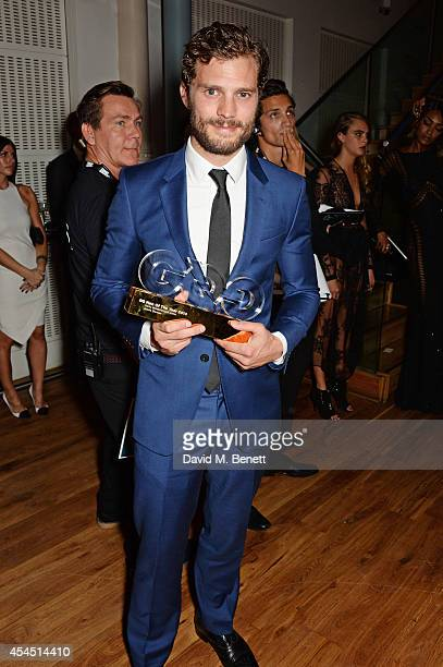 Jamie Dornan winner of the Vertu Breakthrough award attends the GQ Men Of The Year awards in association with Hugo Boss at The Royal Opera House on...