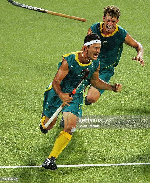 Jamie Dwyer of Australia celebrates after scoring the winning goal in men's field hockey gold medal match against the Netherlands on August 27 2004...