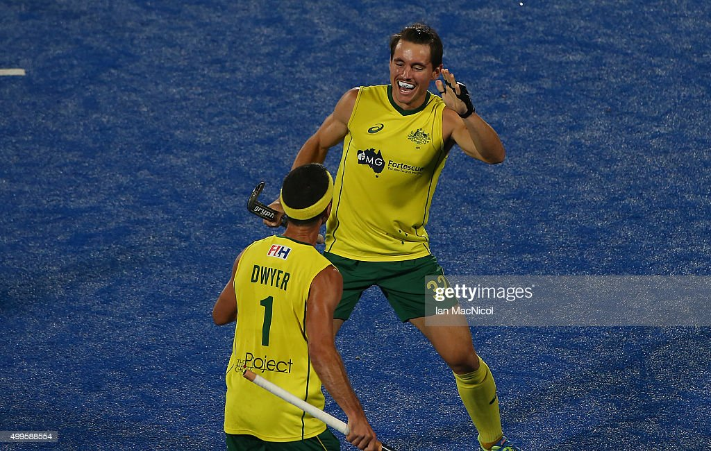 <a gi-track='captionPersonalityLinkClicked' href=/galleries/search?phrase=Jamie+Dwyer&family=editorial&specificpeople=728372 ng-click='$event.stopPropagation()'>Jamie Dwyer</a> of Australia celebrates his goal with team mate Jeremy Hayward of Australia during the match between Australia and Germany on day six of The Hero Hockey League World Final at the Sardar Vallabh Bhai Patel International Hockey Stadium on December 02, 2015 in Raipur, India.