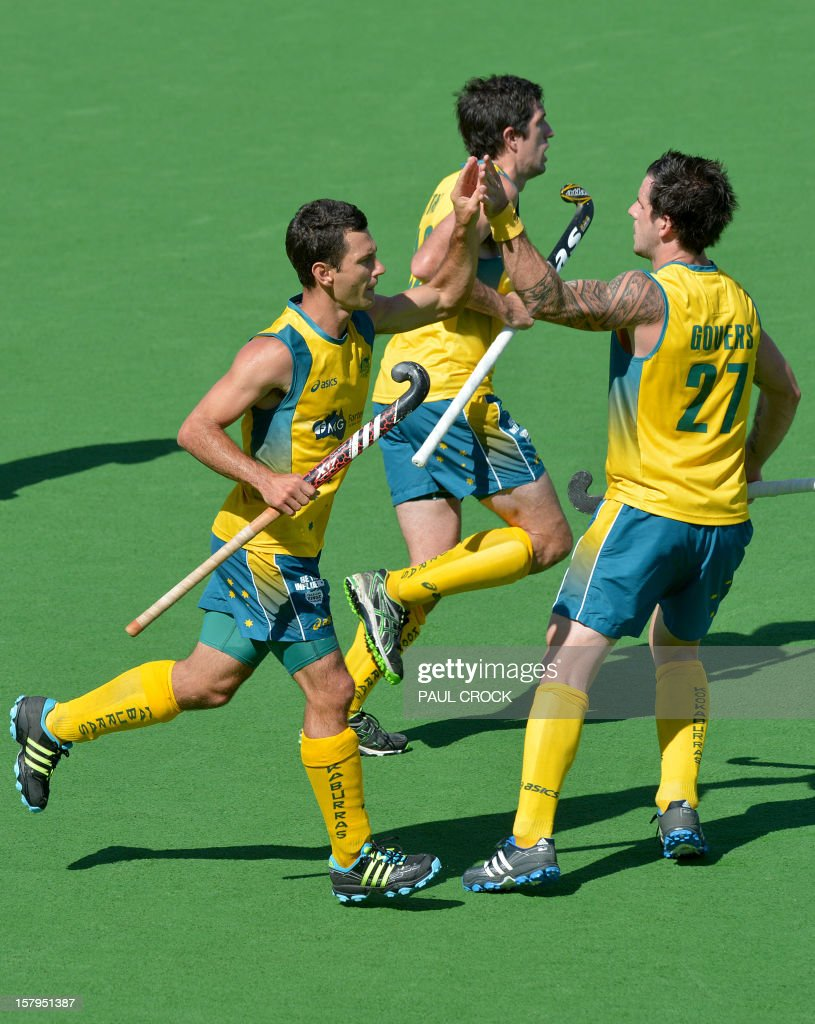 Jamie Dwyer of Australia (L) is congratulated by teammate Kieran Govers (R) after scoring against India during the second semifinal at the men's Hockey Champions Trophy tournament in Melbourne on December 8, 2012. IMAGE STRICTLY RESTRICTED TO EDITORIAL USE - STRICTLY NO COMMERCIAL USE AFP PHOTO / Paul CROCK
