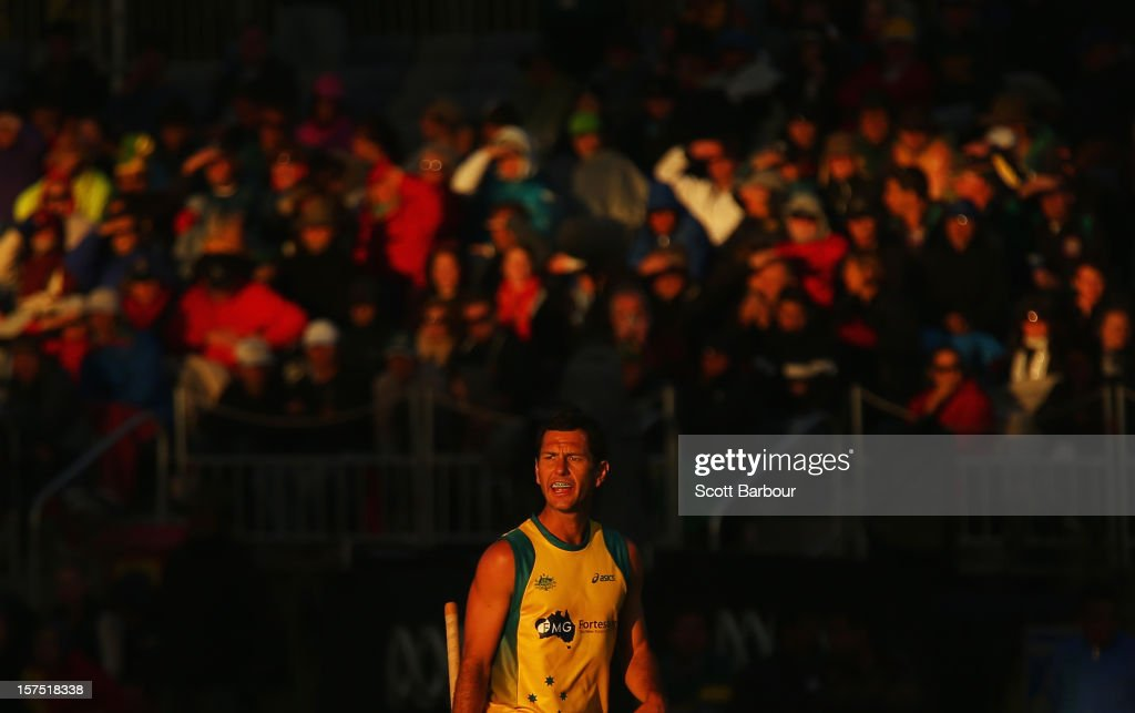 Jamie Dwyer of Australia looks on during the match between the Australia and Pakistan during day three of the Champions Trophy at the State Netball Hockey Centre on December 4, 2012 in Melbourne, Australia.