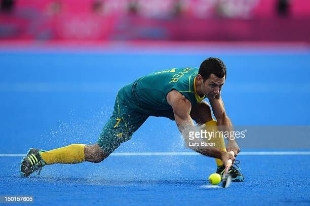Jamie Dwyer of Australia shoots during the Men's Hockey bronze medal match on Day 15 of the London 2012 Olympic Games at Hockey Centre on August 11...