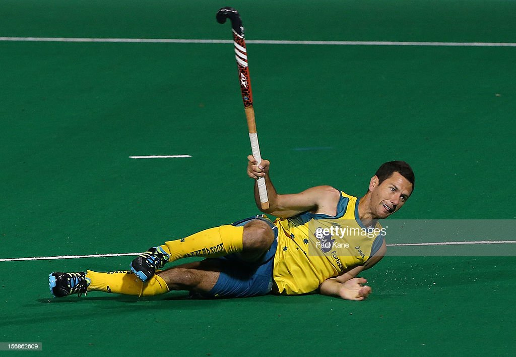 Jamie Dwyer of the Kookaburras watches a shot on goal in the mens Australia Kookaburras v India game during day two of the 2012 International Super Series at Perth Hockey Stadium on November 23, 2012 in Perth, Australia.