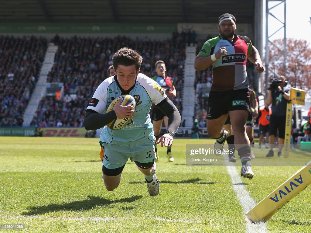Jamie Elliott of Northampton dives over for a try during the Aviva Premiership match between Harlequins and Northampton Saints at Twickenham Stoop on May 4, 2013 in London, England.