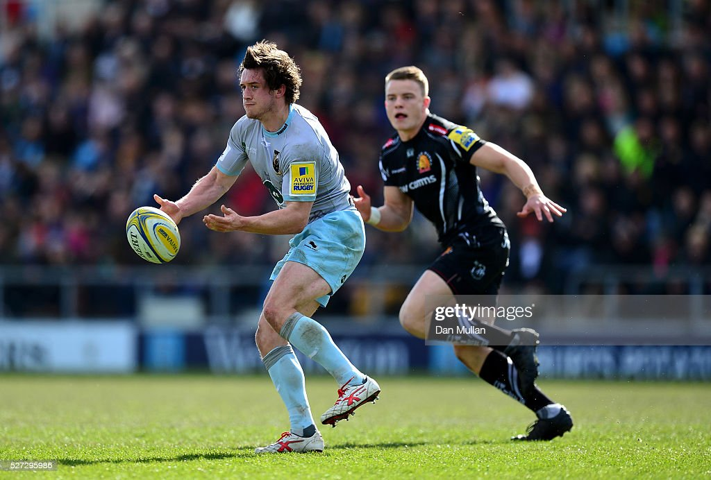 Jamie Elliott of Northampton Wanderers offloads during the Aviva Premiership A League Final between Exeter Braves and Northampton Wanderers at Sandy Park on May 02, 2016 in Exeter, England.