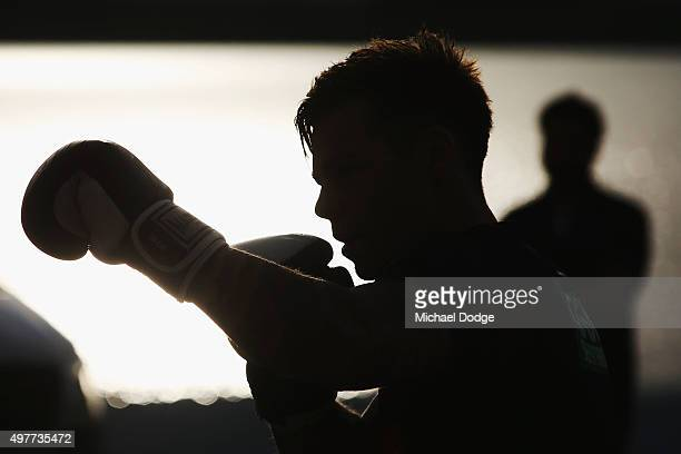 Jamie Elliott of the Magpies boxes during a Collingwood Magpies AFL preseason training camp at Falls Creek on November 19 2015 in Falls Creek...