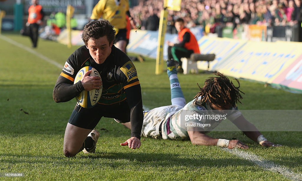 Jamie Elliott, the Northampton Saints wing, dives over for their fifth try during the Aviva Premiership match between Northampton Saints and London Irish at Franklin's Gardens on March 2, 2013 in Northampton, England.
