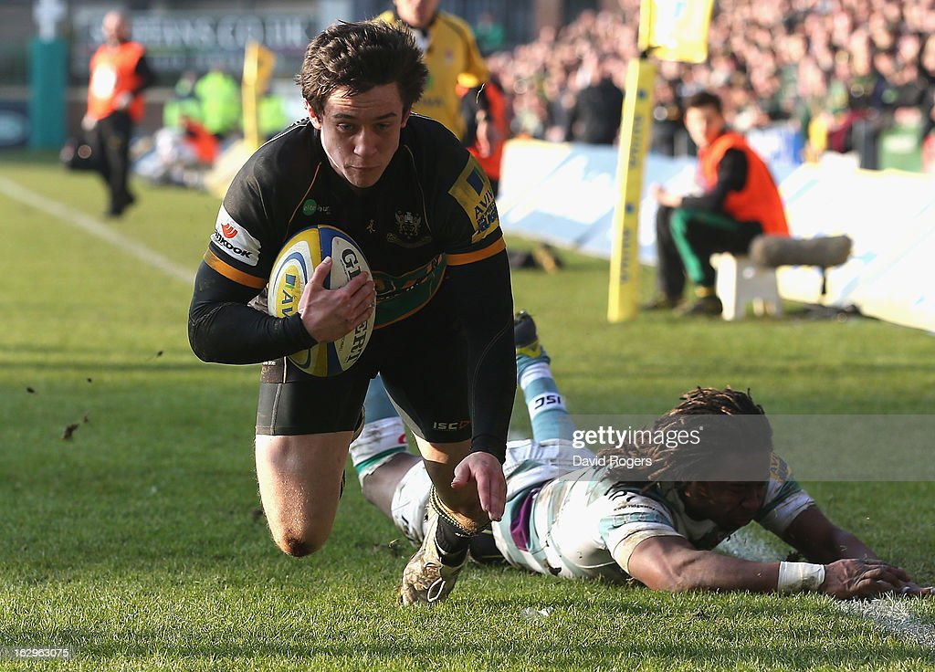 Jamie Elliott, the Northampton Saints wing, dives over for their fifth and his second try during the Aviva Premiership match between Northampton Saints and London Irish at Franklin's Gardens on March 2, 2013 in Northampton, England.
