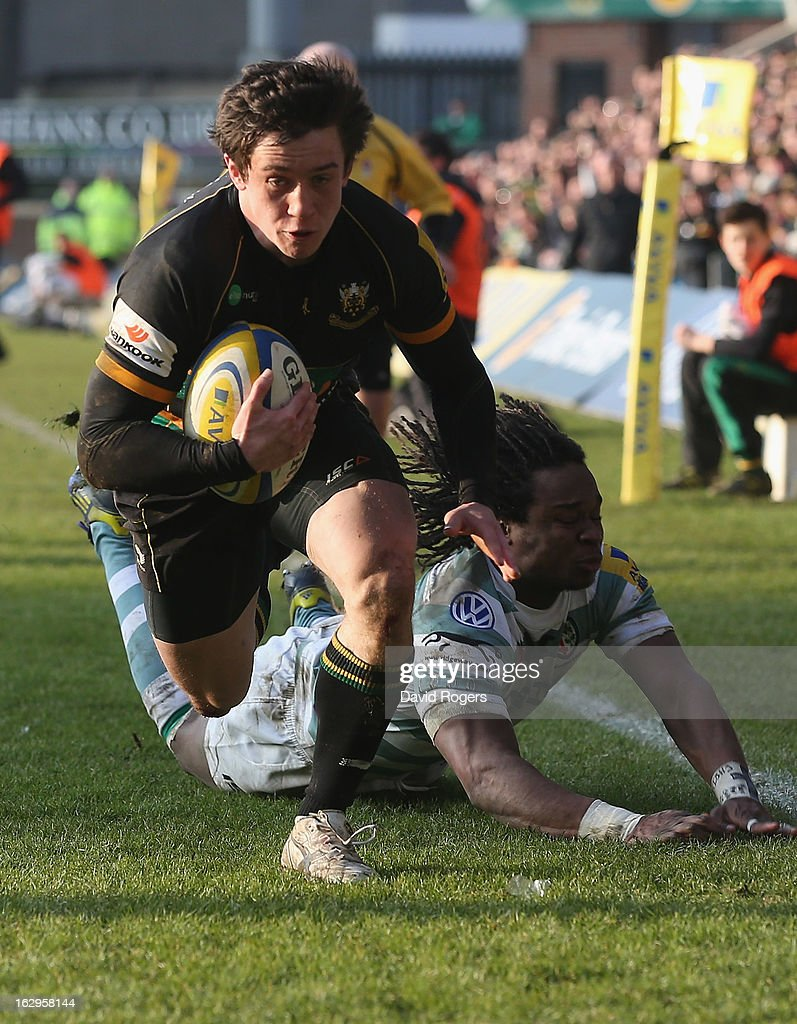 Jamie Elliott, the Northampton Saints wing, races clear to score their fifth try during the Aviva Premiership match between Northampton Saints and London Irish at Franklin's Gardens on March 2, 2013 in Northampton, England.
