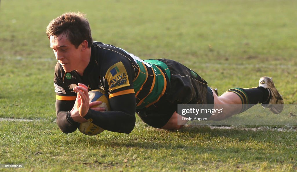 Jamie Elliott, the Northampton Saints wing, scores his third and Northamptonn's sixth try during the Aviva Premiership match between Northampton Saints and London Irish at Franklin's Gardens on March 2, 2013 in Northampton, England.