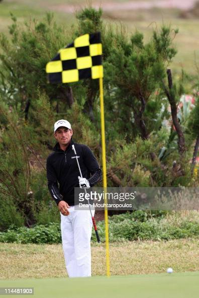 Jamie Elson of England hits his second shot on the 17th hole during day three of the Madeira Islands Open on May 21 2011 in Porto Santo Island...