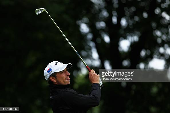 Jamie Elson of England hits his tee shot on the 4th hole during the Final Round of the Saint Omer Open on June 19 2011 in St Omer France