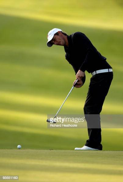 Jamie Elson of England in action during the fifth round of the European Tour Qualifying School Final Stage at the PGA Golf de Catalunya golf resort...