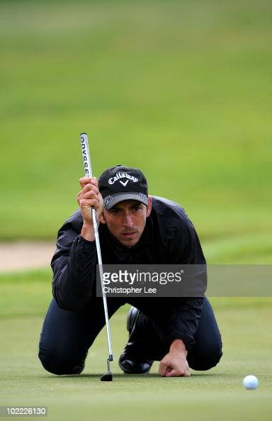 Jamie Elson of England lines up a putt during Round Three of the SaintOmer Open at The Aa St Omer Golf Club on June 19 2010 in Lumbres France