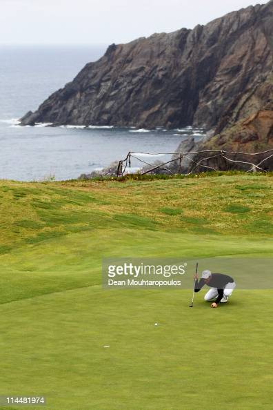 Jamie Elson of England lines up his putt on the 13th hole during day three of the Madeira Islands Open on May 21 2011 in Porto Santo Island Portugal
