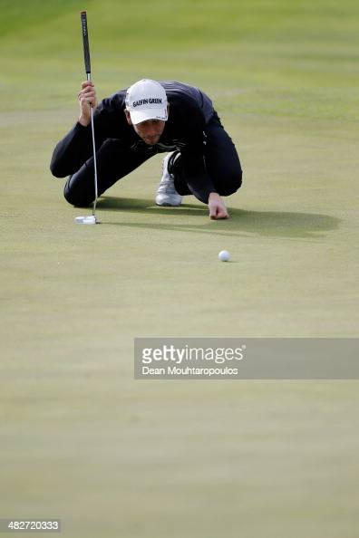 Jamie Elson of England lines up his putt on the 8th green during day two of the NH Collection Open held at La Reserva de Sotogrande Club de Golf on...