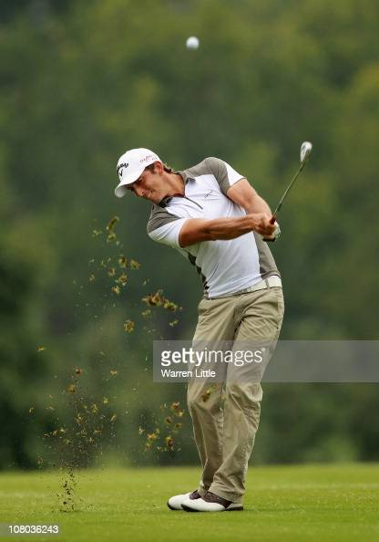 Jamie Elson of England plays his second shot into the 17th green during the second round of the Joburg Open at Royal Johannesburg and Kensington Golf...