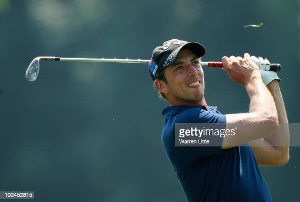 Jamie Elson of England plays his second shot into the 1fifth green during the final round of the BMW International Open at the Munich North...