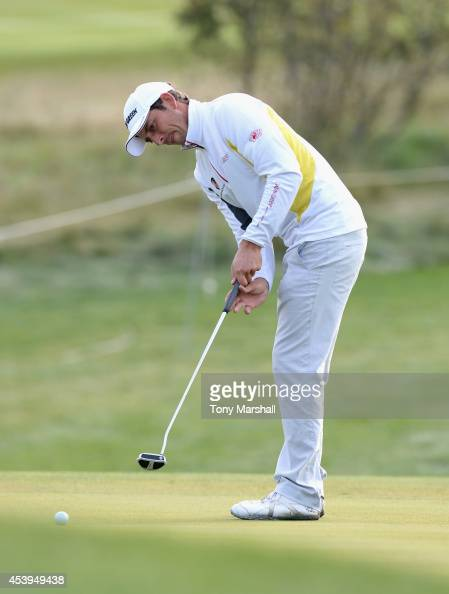 Jamie Elson of England putts on the 2nd green during day two of DD REAL Czech Masters at Albatross Golf Resort on August 22 2014 in Prague Czech...