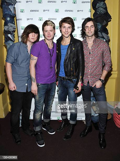 Jamie Fallese Nash Overstreet Ryan Fallese and Ian Keaggy of Hot Chelle Rae attend Z100 CocaCola All Access Lounge at Z100's Jingle Ball 2011 preshow...