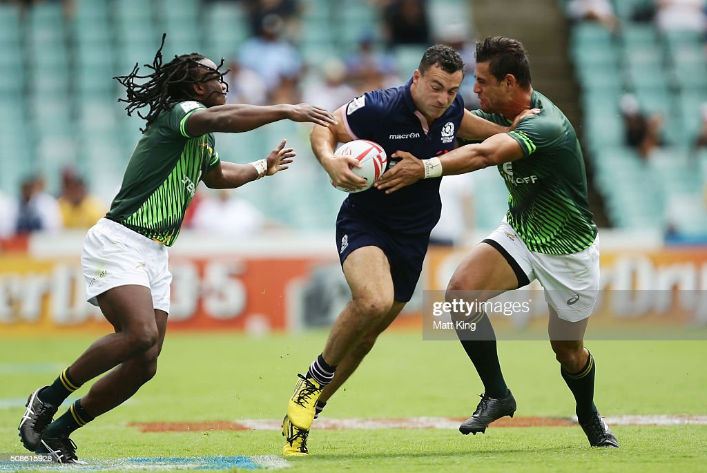 Jamie Farndale of Scotland takes on the defence during the 20146 Sydney Sevens match between South Africa and Scotland at Allianz Stadium on February 6, 2016 in Sydney, Australia.