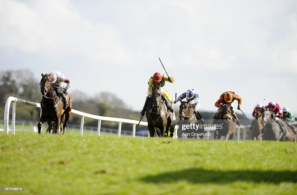 Jamie Flynn riding Goonyella (2nd L red cap) win The The Breakfast with Hector on 2FM Handicap Chase at Punchestown racecourse on April 26, 2013 in Naas, Ireland.